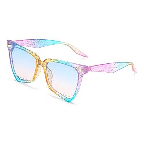 Gafas de Sol Moda Ojo De Gato con Montura De Color, Gafas De Sol para Mujer, Tendencia Única, Famosa Marca De Lujo, Gafas De Sol Coloridas, Lentes Transparentes, Anteojos Uv400 C6
