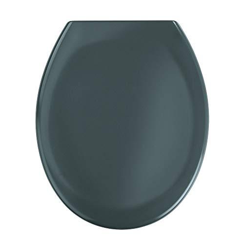 WENKO Premium WC-Sitz Ottana Dunkelgrau - Antibakterieller Toilettensitz, Absenkautomatik, rostfreie Fix-Clip Hygiene Edelstahlbefestigung, Duroplast, 37.5 x 44.5 cm, Dunkelgrau