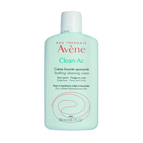 Eau Thermale Avene Clean-Ac Soothing Cleansing Cream, Adjunctive Care for Drying Acne Treatment 6.7 Oz