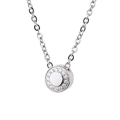 Collar Evia Ernstes Design K783 colgante de circonita, acero inoxidable, cadena de ancla