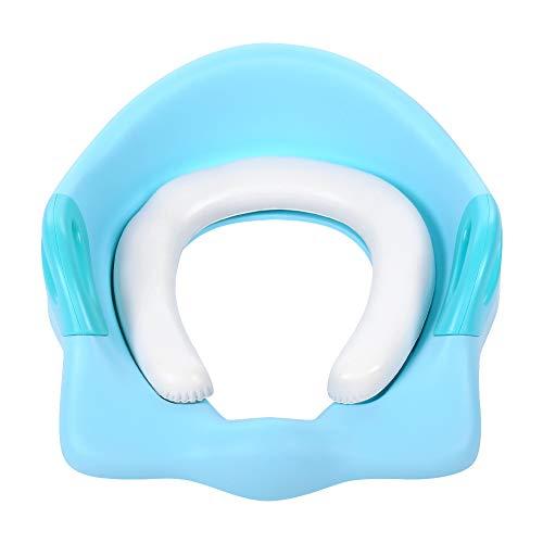 Baby toiletbril, toiletbril, potjesbril met kussengreep en rugleuning voor ronde en ovale toiletten voor kleine kinderen blauw