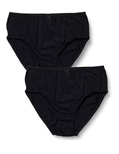 Ulla Popken Große Größen Damen Panties Slip, 2er Pack, (Schwarz 10), (Herstellergröße: 58+)