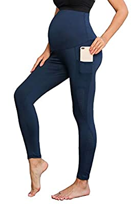 Maternity Workout Leggings w Pockets Running Yoga Pants for Women Active Pants Navy
