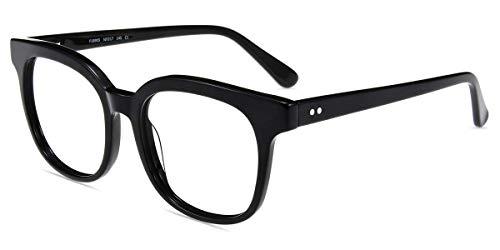 Firmoo Blaulicht Brille ohne Sehstärke Damen, Retro Runde Blaulichtfilter Computer Brille gegen Kopfschmerzen mit Federschanier, Blaulicht UV Schutzbrille Schwarz