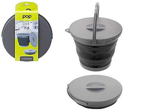 Summit Pop! 5L Collapsible Bucket with Lid Black/Grey