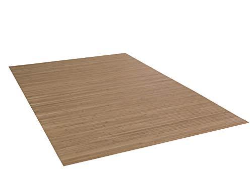 DE-COmmerce Bambusteppich Massive Nature 120x180 cm 17mm gehärtete Stege I die Neue Generation Bambusteppich | kein Bordürenteppich I Teppich I Wohnzimmer I Küche I I Made IN Germany