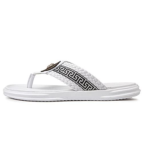 Damen Peep Toe Sandaletten Herren Hausschuhe Strandrutschen Lässige Hausschuhe Sommer Handgemachte Herren Sandalen-Weiß-A_10
