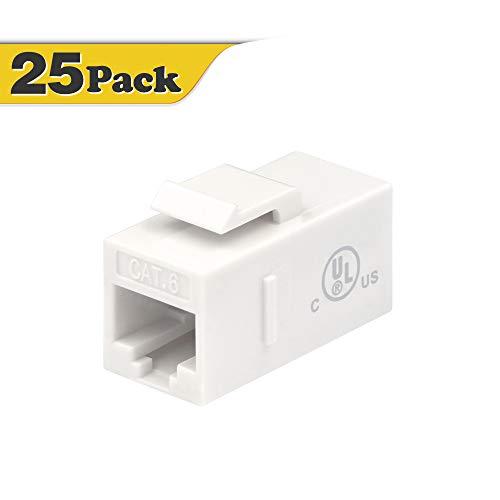 VCE 25-Pack RJ45 CAT6 Keystone Coupler Female to Female Insert Coupler, UTP CAT6 Keystone Inline Coupler White