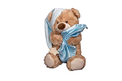 Benera Kuscheltier Teddy Bär Stofftier Plüschtier Schlafbärchen Blaue Mütze 30 cm