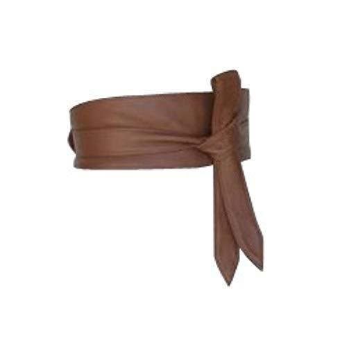 Woman's Brown Leather Obi Sash Wrap Tie Plus Size Corset Waist Cincher Wide biker Leather Belt (2XL(20-22 US), Brown)