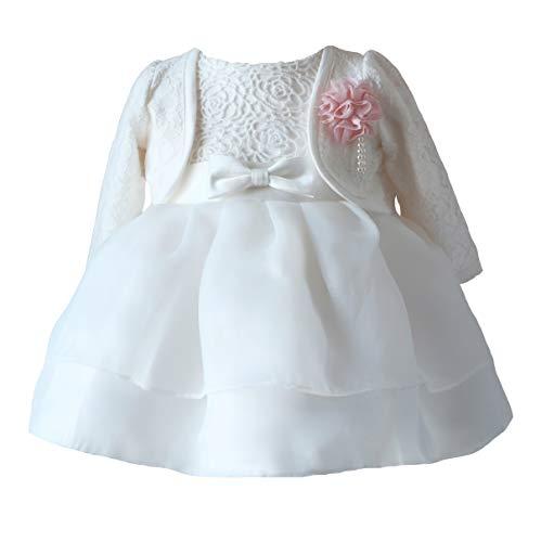 LOLIWE Taufkleid Taufbolero Baby Mädchen Kleid Blumenmädchenkleid Festlich Kleid Babybekleidung (DE 74)