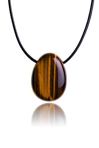 Raw & Noble Edelstein Anhänger aus echtem Naturstein: Tigerauge | Halskette mit Tropfenstein/Trommelstein inkl. hochwertigem Kordband