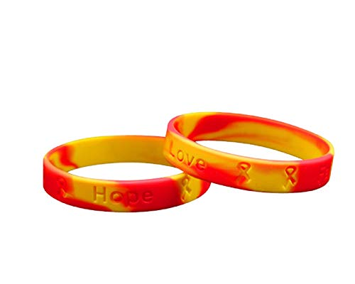 Fundraising For A Cause | Red & Yellow Awareness Silicone Bracelets – Red & Yellow Ribbon Wristbands for Virus Awareness, Hepatitis C, HIV/HCV Co-Infection Awareness, and Fundraising (50 Bracelets)