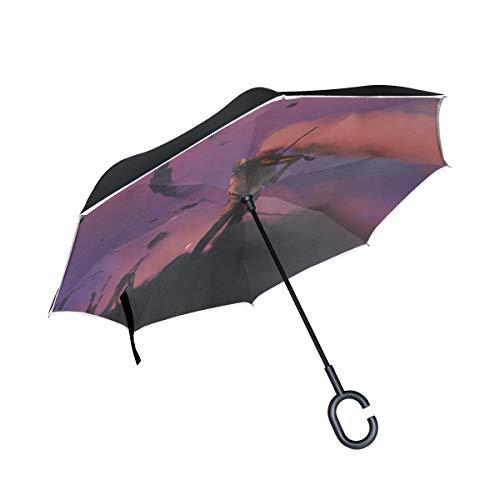 Double Layer Inverted Folding Umbrella Chair Hand an den Saiten eines Violine Reverse Umbrella Auto Fold Up Umbrella für Kinder Winddichter UV-Schutz für Regen mit C-förmigem Griff