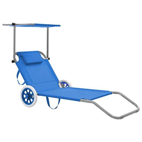 lettino prendisole con ruote vidaXL Lettino Prendisole Pieghevole con Tettuccio e Ruote Acciaio Blu Sdraio