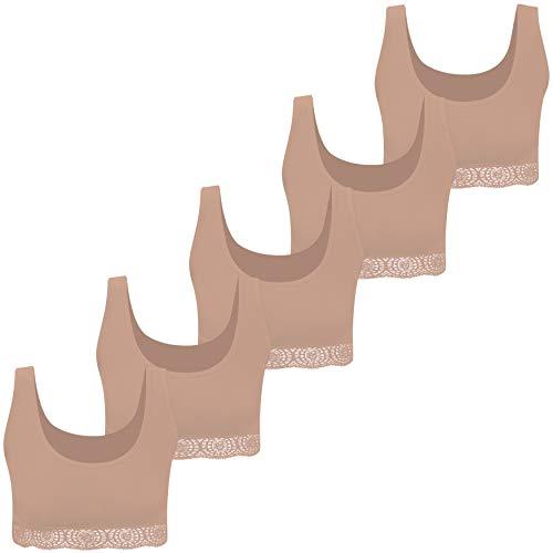 PiriModa Bustier 5 Ragazze con Pizzo di Cotone (128-134, 5X Beige)