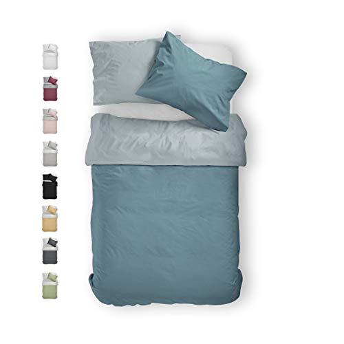 BLUE MOON Mako-Satin Premium Wendebettwäsche 135x200+80x80cm ALLE GRÖßEN Normalgröße Standardgröße Übergröße Einfärbige Made IN EU Qualitätsbettwäsche Aqua
