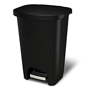 GLAD GLD-74030 Plastic Step Trash Can with Clorox Odor Protection of The Lid   13 Gallon 50 Liter Black