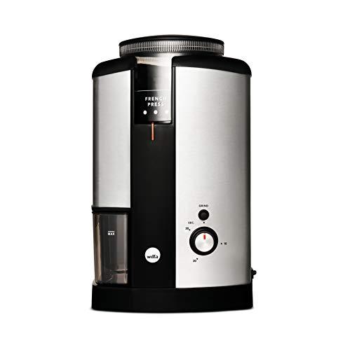 Molinillo de café Wilfa SVART NYMALT - Depósito de café en grano con una capacidad de 250g, 160 vatios, fácil de limpiar, plateado