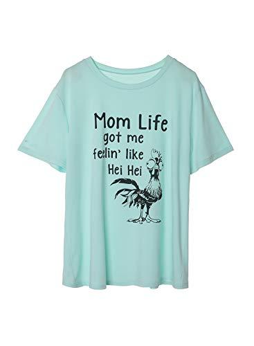 Plus Size Funny T-Shirts for Women Mom Life Got Me Feelin Like HEI HEI Shirts for Women Short Sleeve T-Shirt Casual Top