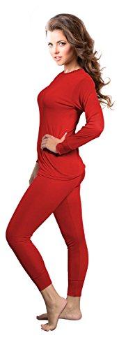 Rocky Womens Thermal 2 Pc Long John Underwear Set Top and Bottom Smooth Knit (Medium, Purple)