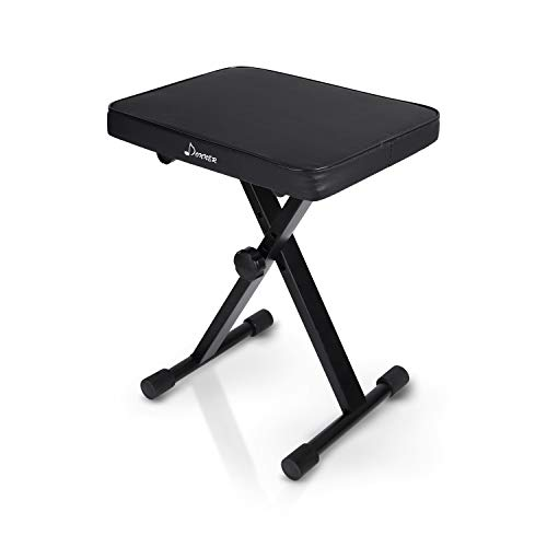 Donner Piano Bench Adjustable, Keyboard Bench X-Style Stool Chair Seat, High-Density Sponges Non-Skid Design, 1.6 Inch, Black