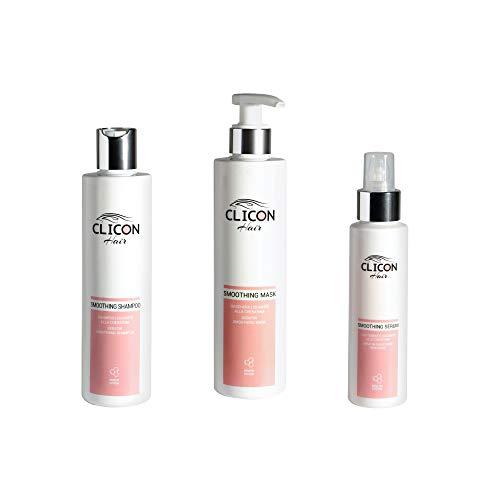 Clicon Hair - Kit Keratin Trattamento Lisciante per capelli crespi e ribelli effetto liscio perfetto shampoo maschera serum (Kit Keratin)