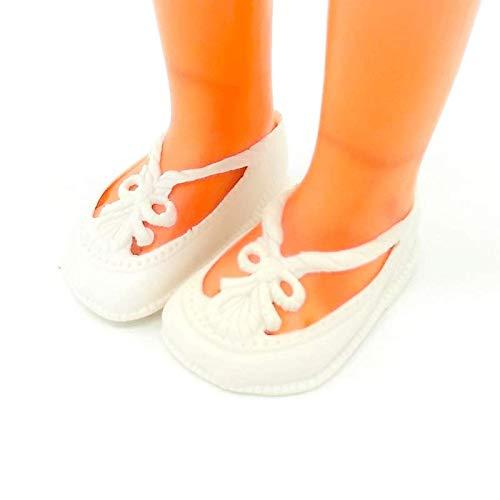 Folk Artesanía Par Zapatos Blancos para muñeca Tipo Nancy New de Famosa Nuevo. Medidas Largo 6 cm x Ancho 3.5 cm. No Apto para Nancy clásica.
