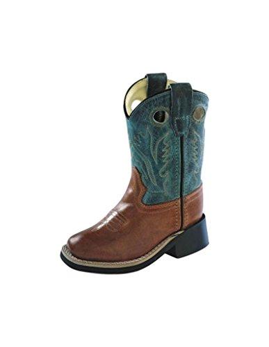 Old West Cowboy Boots Boys Square Toe 7.5 Infant Barnwood BSI1872