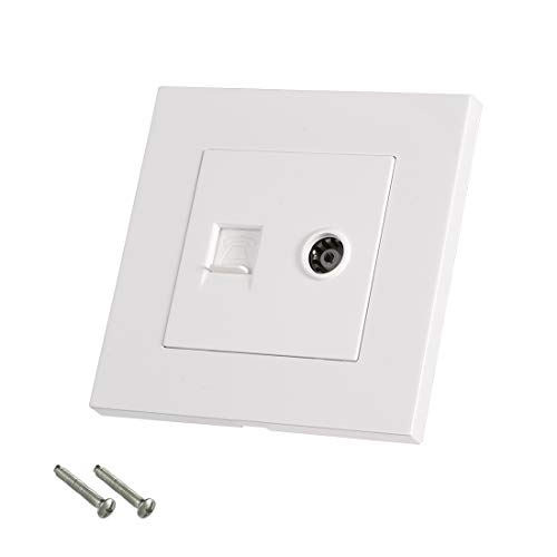 sourcing map RJ11 Telephone TV Aerial Double Ports Socket Wall Plate Panel 86 Type