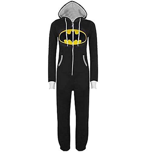 PAJAMASY Navidad Fiesta Trajes Cosplay Bodies Adultas Vengadores Batman Héroe Pijama Dormir Black-S