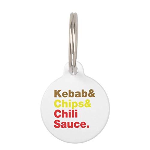 Medagliette identificative per animali domestici, in acciaio inox, per cani, gatti, kebab, patatine fritte e salsa di peperoncino