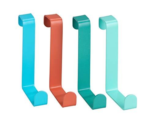 WENKO Appendiabiti sopraporta assortiti - Attaccapanni sopraporta 4 ganci, Acciaio, 7.6 x 1.2 x 6 cm, Assortito
