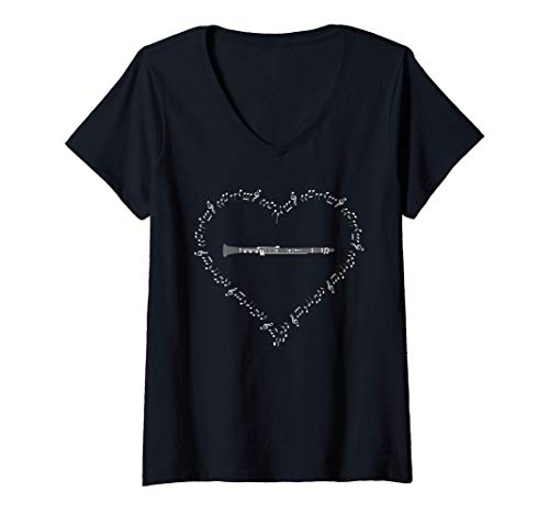 Mujer Clarinete Player Music Notes Love Heart Marching Band Regalo Camiseta Cuello V