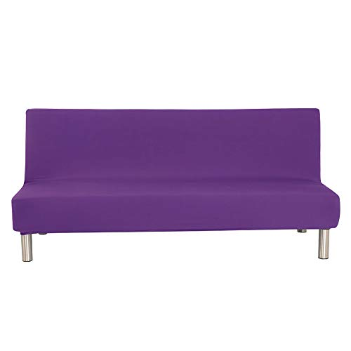 G&X - Copridivano senza braccioli in poliestere e elastan, elasticizzato Futon, 3 posti, elastico e pieghevole, adatto per divano letto pieghevole (viola, normale)