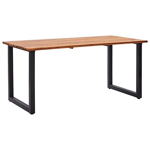 vidaXL Mesa de jardín con patas forma de U madera acacia 160x80x75 cm