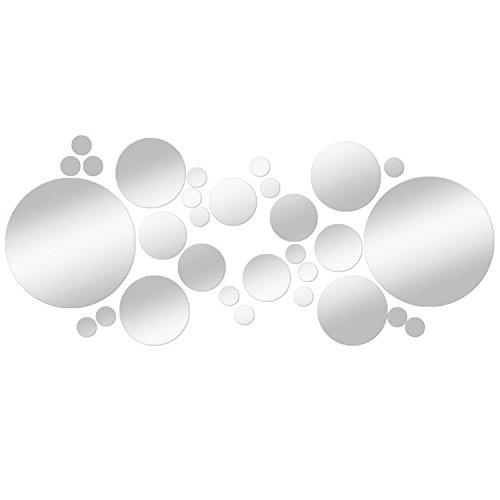 Soledì- Adesivi Murali '30 Pezzi Specchio Puntino di Polka Tono 3D Effetto Argento' Adesivo Sticker Murali Decorazione da Parete, FAI DA TE!
