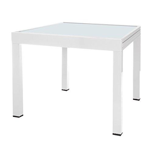 Mesa terraza Extensible Aluminio Blanco Garden - LOLAhome ✅