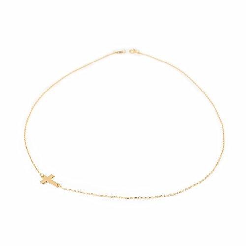 Monde Petit G1229G - Cadena con cruz horizontal Oro 18 Kts. para niña o mujer