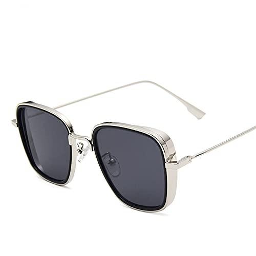 FDNFG Gafas de Sol Gafas de Sol cuadradas Retro Gafas de Sol de Steampunk para Hombre Gafas de Sol Negras Rojas Gafas de Sol (Lenses Color : C1)