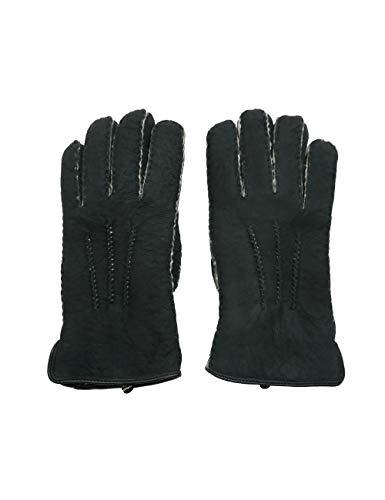 YISEVEN Herren Curly Shearling Handschuhe Neuseeland Lammfell Lederhandschuhe mit Gefüttert Winter Herrenhandschuhe Autofahren Chic Fingerhandschuhe Dick Fellandschuhe Geschenk, Rauchiges Schwarz S