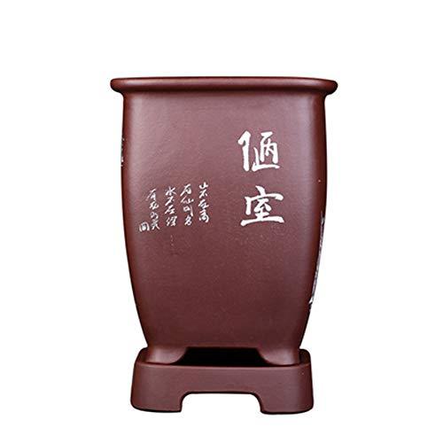 THUK Pot de Fleur de Sable Pourpre, Pot de Fleur Bleu, bonsaï carré de Haute qualité, Pot de Fleur Classique Respirant, avec Table inférieure gravée sur la Table,