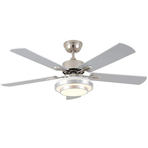 Hancoc 106 cm, 122 cm, 122 cm, ventilador remoto de acero inoxidable para restaurante moderno, lámpara de salón, dormitorio, ventilador de techo, ventilador LED silenciador (tamaño: 48)