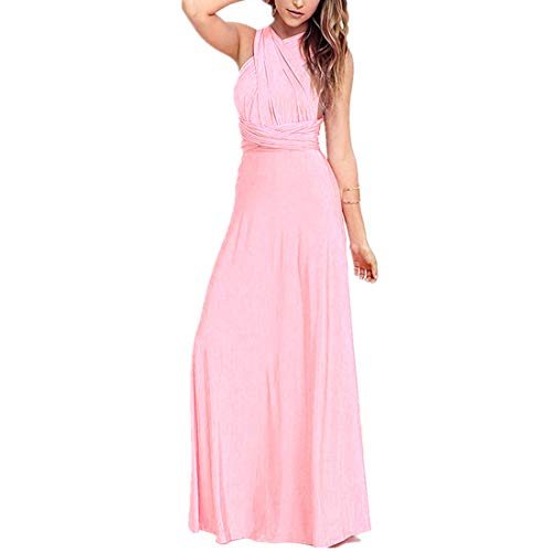 Women's Transformer Convertible Multi Way Wrap Long Prom Maxi Dress V-Neck Hight Low Wedding Bridesmaid Evening Party Grecian Dresses Boho Backless Halter Formal Cocktail Dance Gown Pink Large