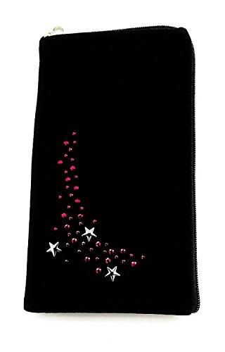 Gütersloher Shopkeeper Strass Handy Tasche Etui Hülle Hülle 5,5 Zoll schwarz mit Reissverschluss Pink Stars auch geeignet für Apple iPhone XS Max und Apple iPhone Xr und Samsung Galaxy S9 Plus