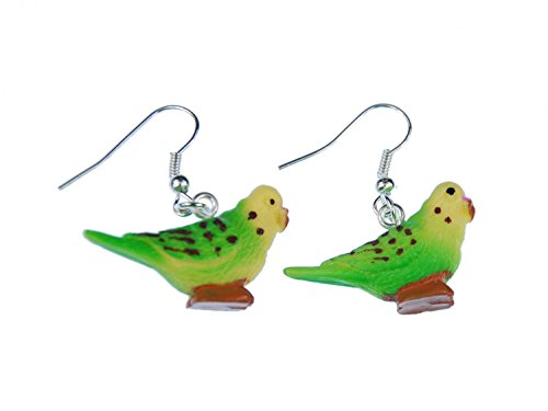 Miniblings Wellensittich Ohrringe Hänger Haustier Vogel Sittich Kunststoff grün - Handmade Modeschmuck I Ohrhänger Ohrschmuck versilbert