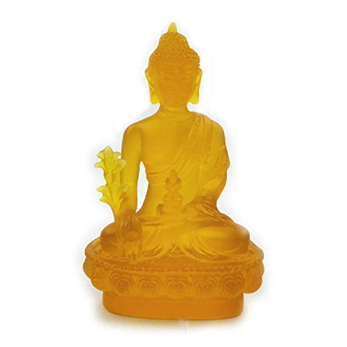 DDXW Statues And Figurines Ornaments Glazed Buddha Statues Home Decoration Accessories Feng Shui Ornaments Car Gifts Crafts-5_8*13Cm