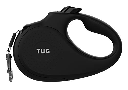 TUG 360° Tangle-Free, Heavy Duty Retractable Dog Leash for Up to 110 lb Dogs; 16 ft Strong Nylon Tape/Ribbon; One-Handed Brake, Pause, Lock (Large, Black)