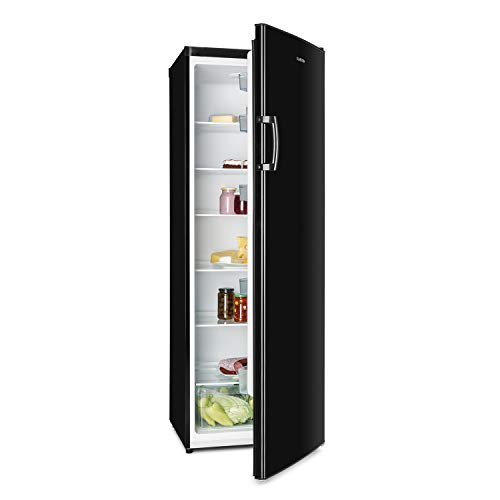 Klarstein Bigboy Nevera grande - EcoExcellence: Eficiencia energética tipo A+, 323 litros, Cajón de verduras: enfriamiento a 0 °C, 6 baldas, 5 espacios para botellas y huevera, Negra