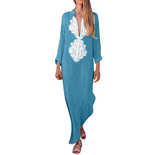 Kneris Mujer Casual Playa Largos Verano Cuello en V Vestido Boho Larga Maxi Vestido Elegantes